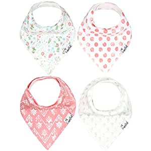 """Baby Bandana Drool Bibs for Drooling and Teething 4 Pack Gift Set For Girls """"Claire Set"""" by Copper Pearl"""