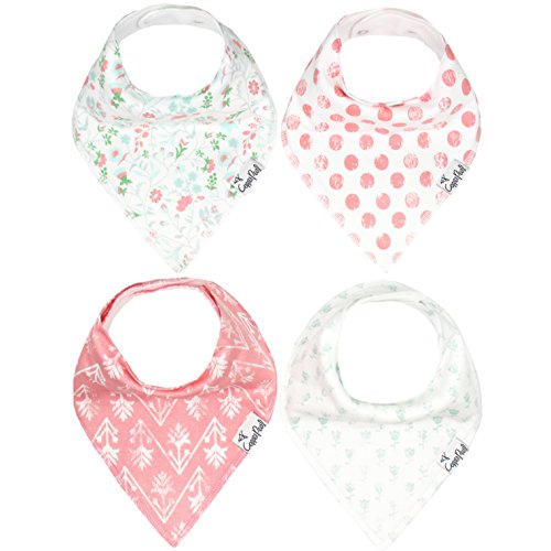 "Baby Bandana Drool Bibs for Drooling and Teething 4 Pack Gift Set For Girls ""Claire Set"" by Copper Pearl"