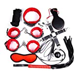 10 Pcs Bed Bondage Kit Restraints Love wrist and ankle Cuff Bracelets Set Fetish Bondage Restraint System (Red)