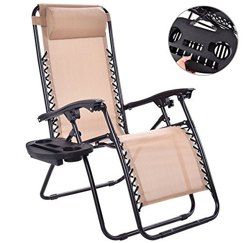 DUSTNIE Reclining Folding Zero Gravity Chair - Outdoor Patio Portable Chaise Lounge Chairs Pool Beach Yard Garden Lounger Sunbathing Tanning Recliner Seat W/Utility Tray Cup Holder - Beige by DUSTNIE