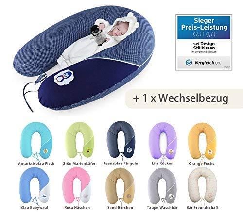 Almohada de enfermería, cojín de lactancia y una funda para el cojín, de calidad, marca SeiDesign XXL 190 x 30 cm, que consiste en el llenado de bolas ...