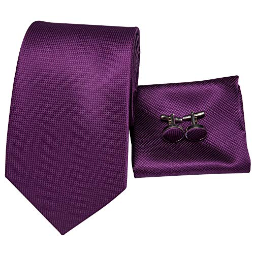 Hi-Tie Mens Purple Plum Tie Solid Color Woven Silk Necktie Tie Handkerchief Cufflinks set