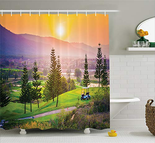 Ambesonne Farm House Decor Shower Curtain, Vibrant Golf Resort Park in Spring Season with Trees Sunset Hills and Valley, Fabric Bathroom Decor Set with Hooks, 70 Inches, Orange Green