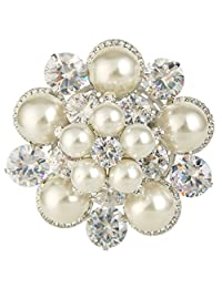EleQueen Women's Silver-tone Cubic Zirconia Cream Simulated Pearl Crystal Bridal Flower Brooch Clear