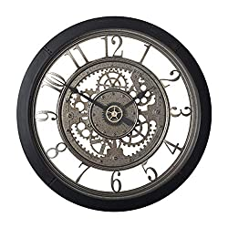 Studio Designs Home Pinnacle Gear 24 Wall Clock with Glass Face in Black 73012, 24 W x 24 H x 2.75 D, Clear