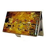 Mother of Pearl Kiss by Gustav Klimt Art Painting Design Business Credit Name Card Money Holder Case Metal Stainless Steel Engraved Slim Purse Pocket Cash Money Wallet