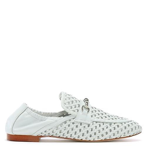 ae10daf3225bd Daniel Ballena White Leather Woven Loafers 36 White Leather: Amazon ...