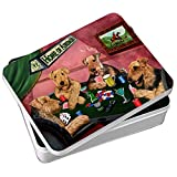 Home of Airedale 4 Dogs Playing Poker Photo Tin