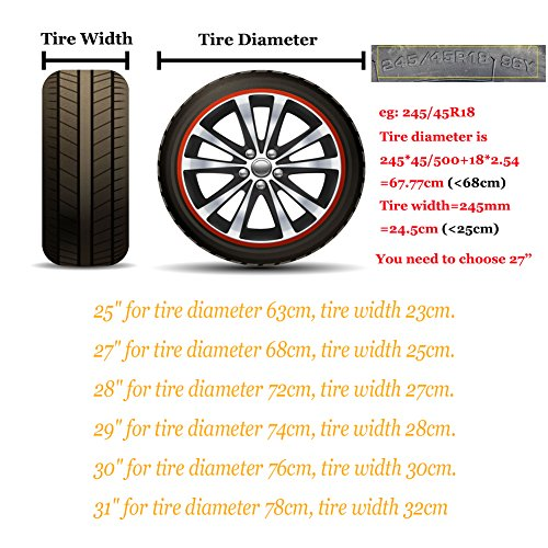 HEALiNK Tire Covers Set of 4 for RV Wheel Waterproof Oxford Tires Protector Covers for Motorhome Truck Trailer Camper Auto (27'' for Tire Diameter 68cm, Tire Width 25cm) by HEALiNK (Image #2)
