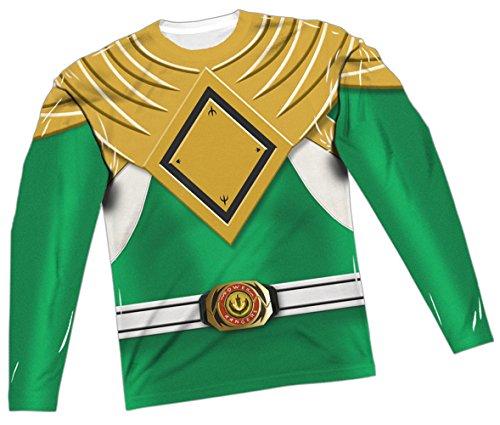 Green Ranger Costume -- Power Rangers All-Over Long-Sleeve T-Shirt, Large (Power Rangers Green Ranger Costume)