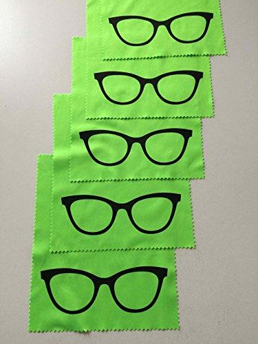 5x Mikrofaser Brillenputztuch - Brille - grün - groß - 18cm x 14,5cm - Putztuch Displayputztuch Reinigungstuch für Kamera iPad iPhone Tablet PC