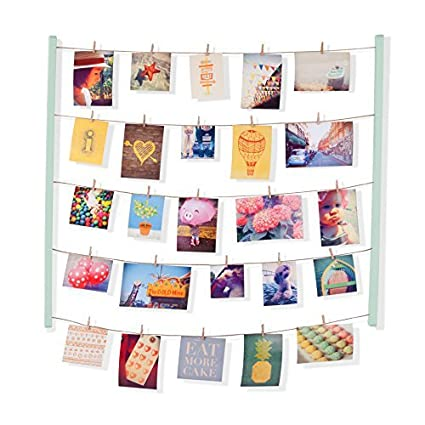 Umbra Hangit Photo Display - DIY Picture Frames Collage Set Includes Picture Hanging Wire Twine Cords, Natural Wood Wall Mounts and Clothespin Clips for Hanging Photos, Prints and Artwork (Mint)