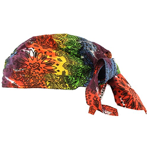 (Unisex Cotton Paisley Bandana Headwrap Headscarf Adjustable Durag Hat Cap Rainbow)