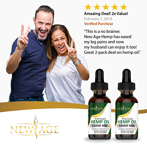 (2-Pack) Hemp Oil Extract for Pain, Anxiety & Stress Relief - 1000mg of Organic Hemp Extract - Grown & Made in USA - 100% Natural Hemp Drops - Helps with Sleep, Skin & Hair. by New Age (Image #1)