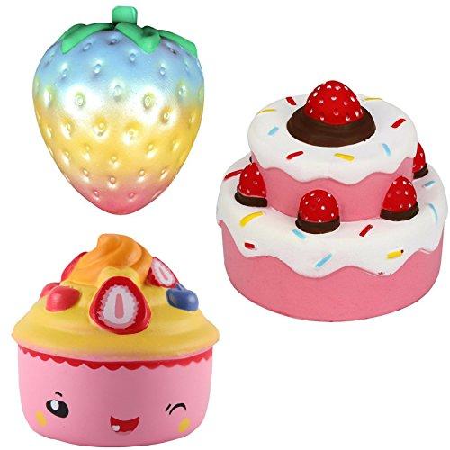 Pink Strawberry Cupcake (Jumbo Squishies Slow Rising Rainbow Strawberry, Tiered Cake, and Cupcake Scented Kawaii Rare Silly 3 Pack)