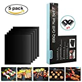 BBQ Grill Mat - 5 Pack Non Stick Grill Mats - Heavy Duty, Reusable, Essential Grilling Accessories with 2 Shredder Claws for gift