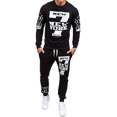 b3daf23c743c Amazon.com  Elogoog 2018 Men s Fashion Crewneck Sweatshirt Shirts +Pants  Sets Letter Hipster Mens Printed Tracksuit  Clothing