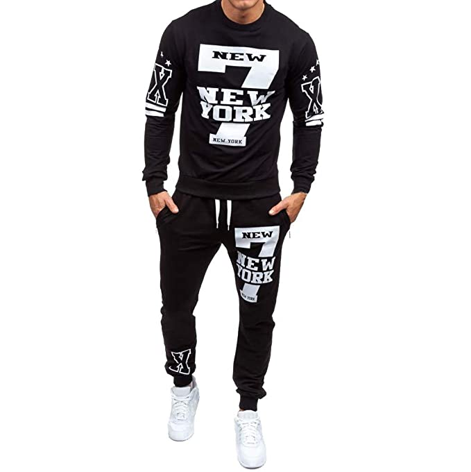 65747c37 Image Unavailable. Image not available for. Color: Men's Sweatshirt Top  Jogger Sweatpants Sets Sports Suit Tracksuit