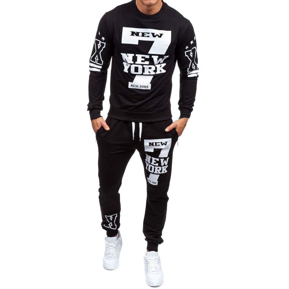 iLXHD Men's Autumn Winter Polyester Printed Sweatshirt Top Pants Sets Sports Suit Tracksuit(Black,L)