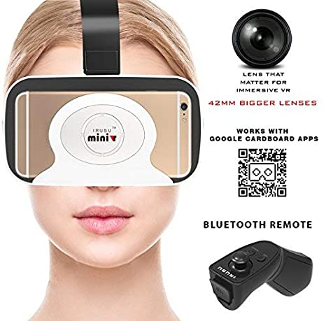 47bbce39bbe Irusu MINI 3D VR Headset with Bluetooth Remote for  Amazon.in  Electronics
