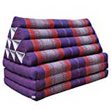 Thai triangle cushion/mattress XXL, with 3 folding seats,sofa, relaxation, beach, pool, meditation, yoga, made in Thailand Violet/Red (81518)