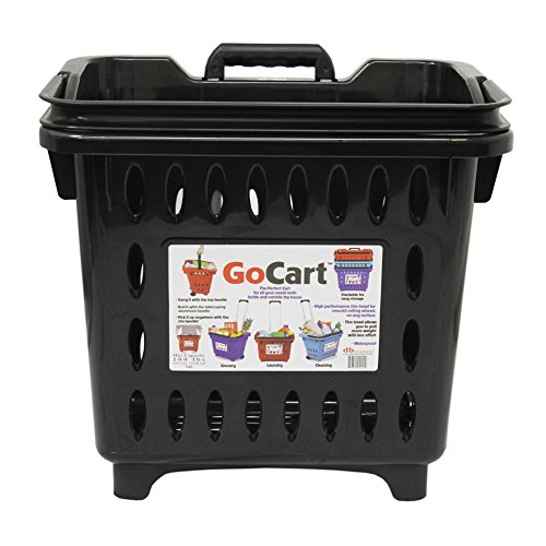 GoCart, Black Grocery Shopping Basket Rolling Laundry Cart
