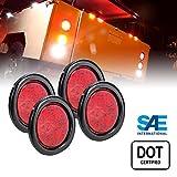 led stop lights for trucks - 4pc 4 Inch Round RED LED Trailer Tail Lights - Turn Stop Brake Trailer Lights for RV Trucks (DOT Certified, Grommet & Plug Included)