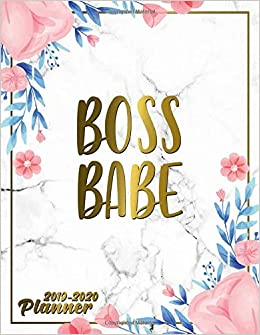 Boss Babe 2019 2020 Planner Cute Marble Gold Floral Daily