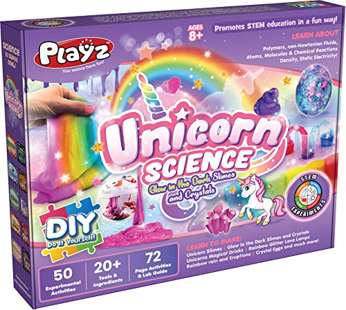Playz Unicorn Slime & Crystals Science Kit Gift for Girls & Boys with 50+ STEM Experiments to Make Glow in The Dark Unicorn Poop, Snot, Fluffy Slime, Crystals, Putty, Arts & Crafts for Kids Age 8-12