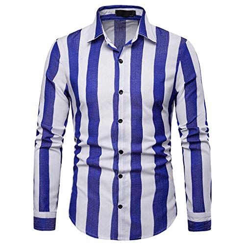 POQOQ Tunic Shirt Men's Casual Stripe Button Down Slim Long Sleeve Blouse Tops(Blue,XL)]()
