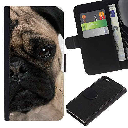 EuroCase - Apple Iphone 6 4.7 - pug face puppy wrinkled eye muzzle dog - Cuir PU Coverture Shell Armure Coque Coq Cas Etui Housse Case Cover