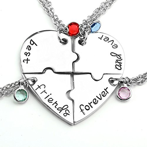 Jovivi Best Friends Forever and Ever Friendship Necklaces Keychains for 3/4,Alloy Heart Matching Puz - http://coolthings.us
