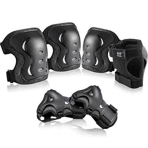boruizhen Kids & Adult/Youth Knee and Elbow Pads with Wrist Guards 3 in 1 Protective Gear Set for Skateboarding Cycling BMX Bike Scooter Skating Rollerblading Riding (Black, Large (14 Years - Adult))