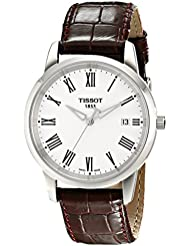 Tissot Mens T0334101601300 T-Classic Dream White Dial Brown Leather Strap Watch