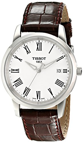 Tissot Men's T0334101601300 T-Classic Dream White Dial Brown Leather Strap Watch