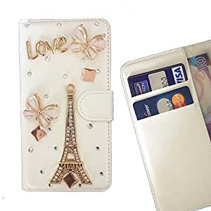 - Paris Tower Butterfly/ Slot Card Flip Case Cover Skin Bling Rhinestone Crystal Leather - Cao - For HUAWEI P8 Lite