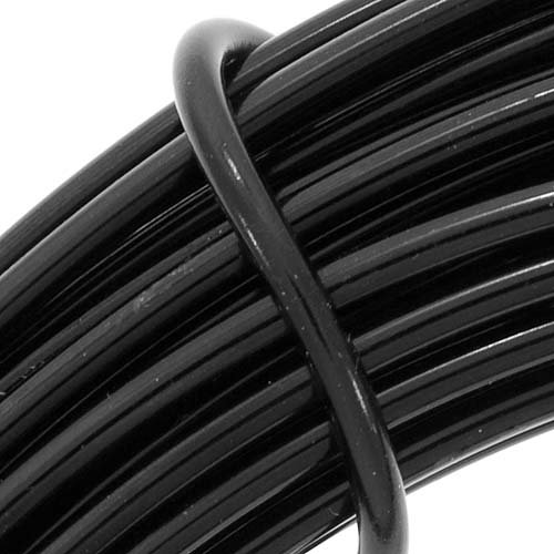 BeadSmith WCR-4103 11.8m Aluminum Craft Wire, Black, (12 gauge/39ft)