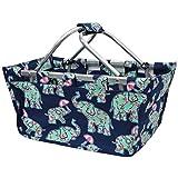 Baby Elephant Umbrella Print NGIL Canvas Shopping, Market, Picnic Basket