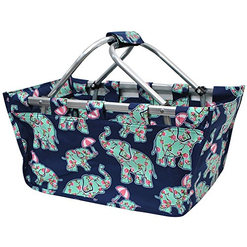 Baby Elephant Umbrella Print NGIL Canvas Shopping, Market, Picnic Basket by NGIL