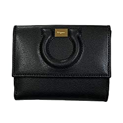 Salvatore Ferragamo Gancini Black Leather Bifold Wallet 22c844