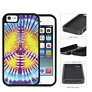 Colorful Peace Sign Tie Dye Pattern 2-Piece High Impact Dual Layer Black Silicone Cell Phone Case iPhone i5 5s