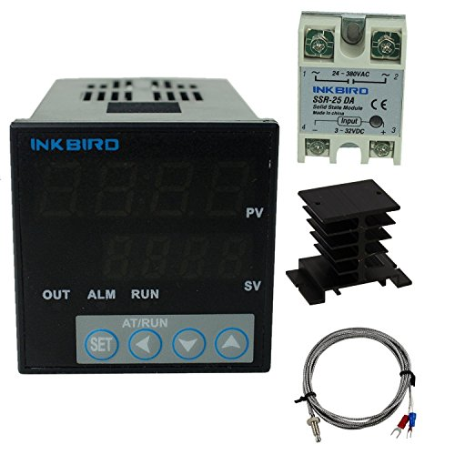 Inkbird °F and °C Display PID Stable Temperature Controller ITC-106VH (ITC-106VH + K + 25A SSR + Black Heat Sink)