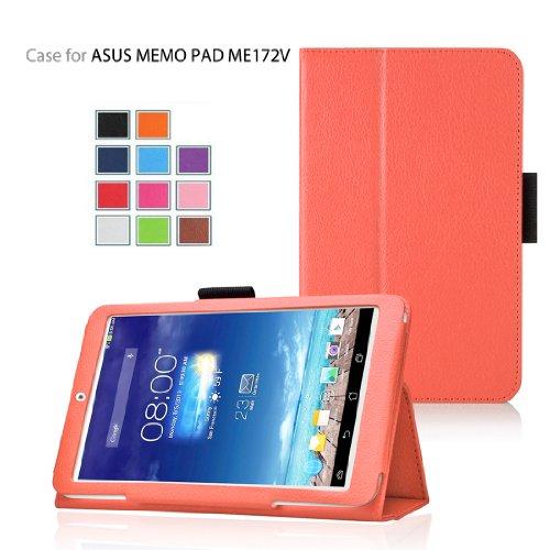 Elsse (TM) Premium Folio Case with Stand for Asus Tablet Case (Asus MeMO Pad Me172V, Orange)