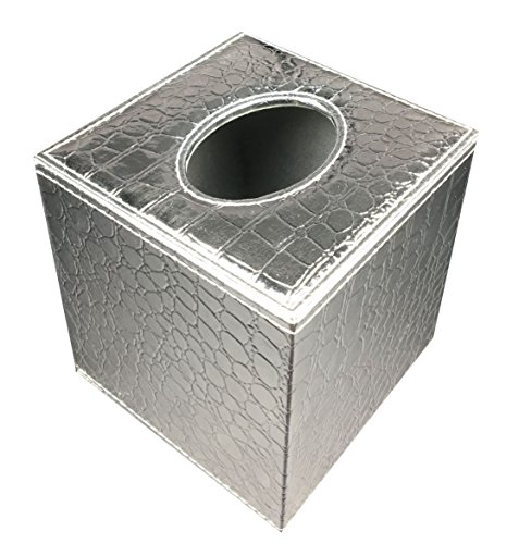 (S Forever Cube Kleenex Box Holders PU Leather Square Roll Tissue Box Cover (Silver,5.32