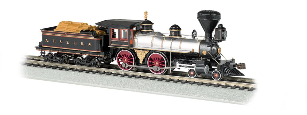 Bachmann Industries 4-4-0 American Steam DCC Sound Value Santa Fe #91 with Wood Load Locomotive (HO Scale)