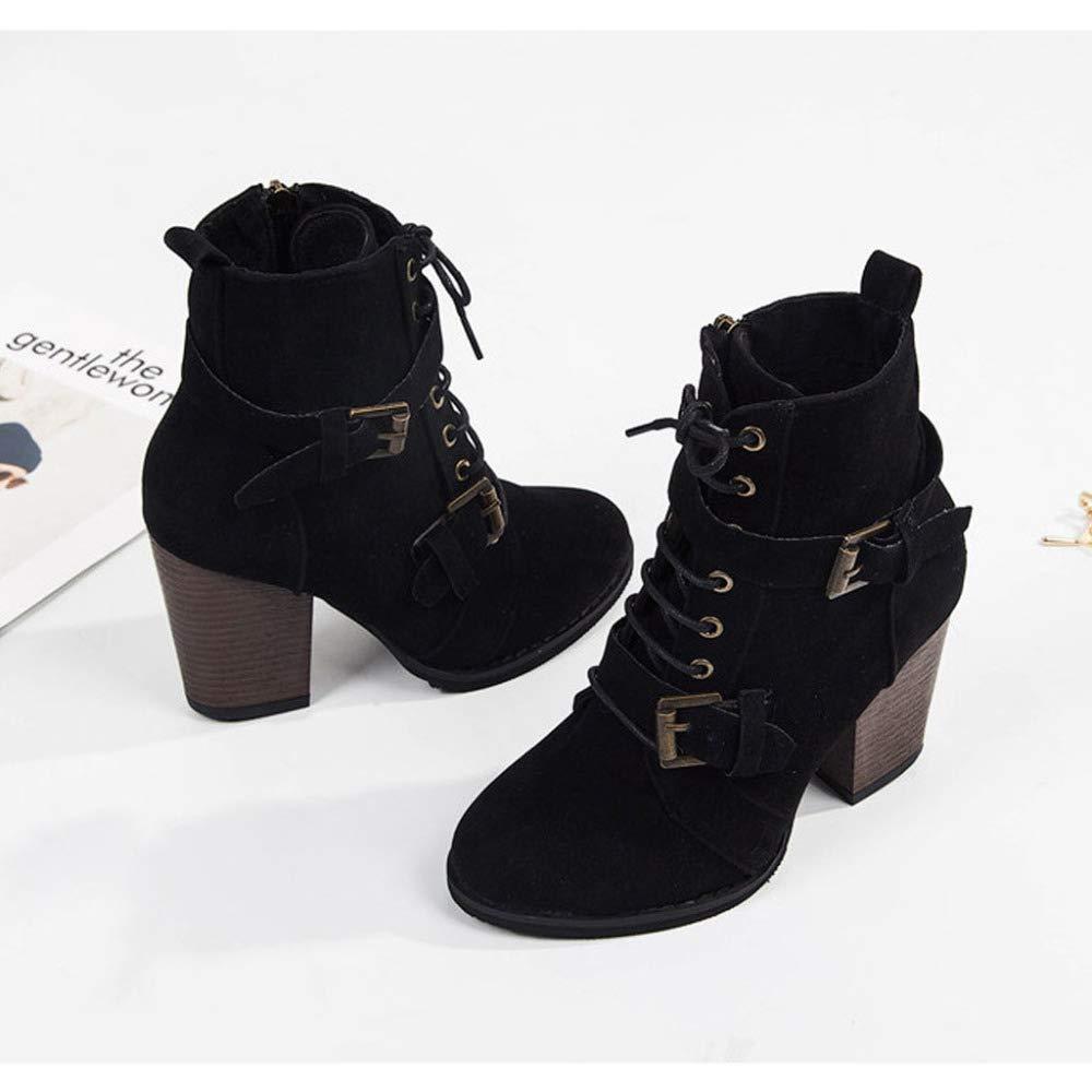 PLNXDM Damen Damen Damen Stiefel Freizeitschuhe,Martin Stiefel Ankle Stiefel High Block Heeled Zipper Stiefel  53abf9