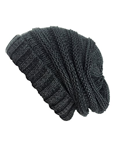 Review NYFASHION101 Oversized Baggy Slouchy Thick Winter Beanie Hat, Black/Gray Mix