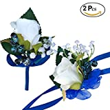 DALAMODA Royal Blue Ribbon 2 Pcs Handmade Single Artificial Rose Head Boutonniere Wrist Corsage Wristband Bridesmaid Corsage Flower Wedding Party Boutonnieres(Pack of 2)