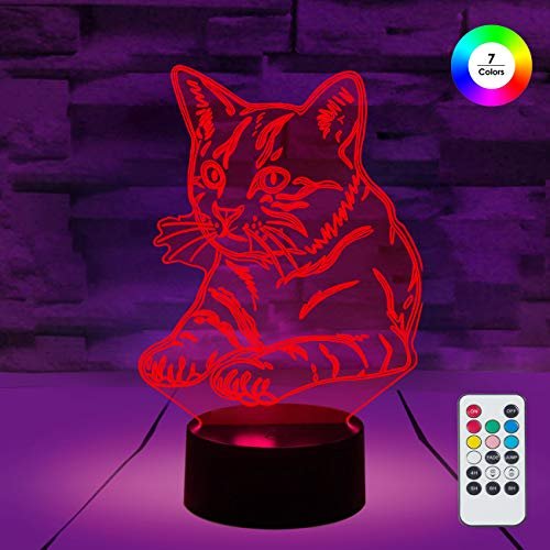 [ 7 Colors/3 Working Modes/Timer Function ] Remote and Touch Control Cat Night Lights, Dimmable LED Bedside Lamp for Children and Kid's Room]()