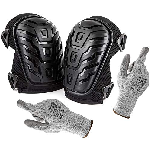 Bonus Cut Resistant Gloves + Professional Knee Pads with Heavy Duty Foam Padding and Comfortable Gel Cushion, Strong Double Straps and Adjustable Easy-Fix Clips